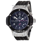 Мужские Наручные часы Hublot Big Bang Classic Automatic Black-Silver-Black-Red